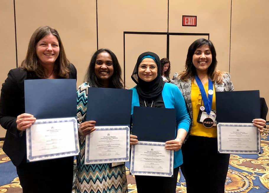 All the LDT faculty and one doctoral student receiving awards at the 2019 AECT conference
