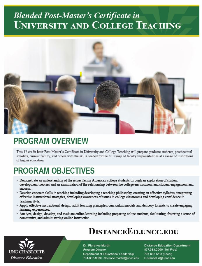 Post-Master\'s Certificate in University and College Teaching ...